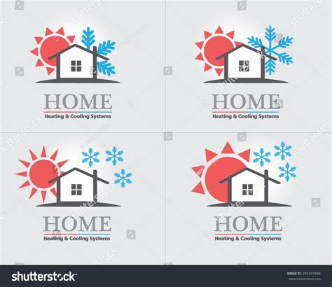 Heating Cooling Systems Business Icon Set Stock Vector 295397846 Shutterstock Heating And Cooling Website Template