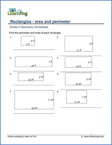 printable worksheets perimeter and area area and perimeter word problem worksheets grade 4
