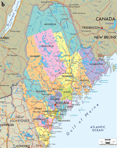 maine county map political map of maine ezilon maps