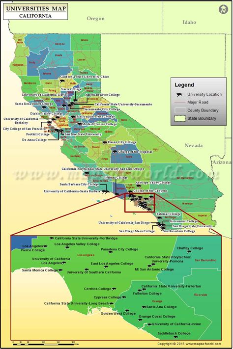 map california usa map of universities in california list of colleges and