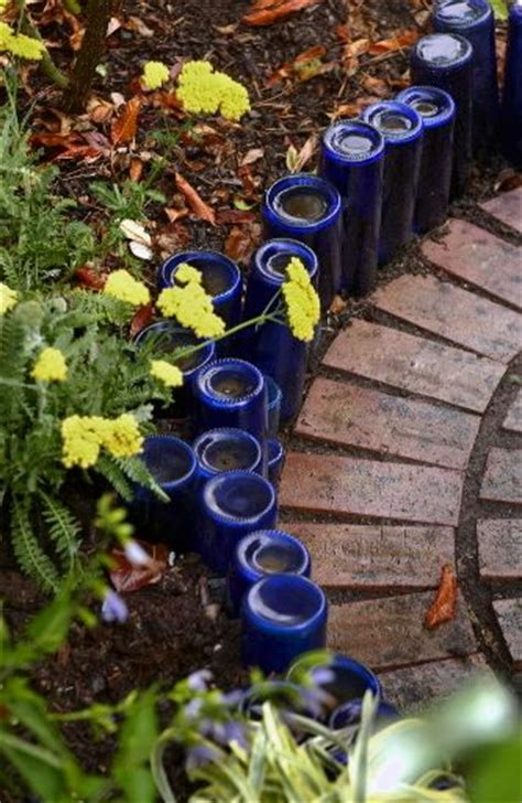 Recycled Garden Edging Ideas Recycled Glass Bottle Landscape Edging Gardening And Outdoor Stuffs Glasses