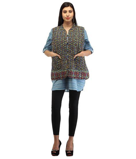 Ethnic Blue buy ethnic blue cotton collar sleeveless jacket