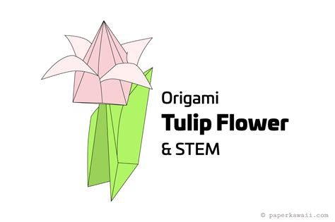 how to make an origami tulip flower stem