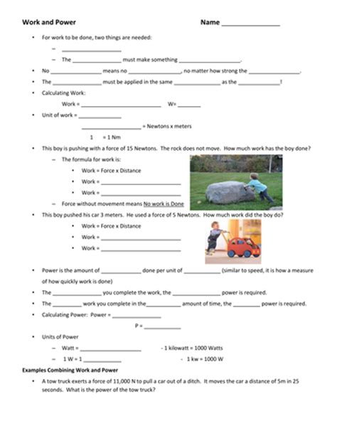 Introduction To Energy Worksheet Answers by Work And Power Worksheet Photos Dropwin