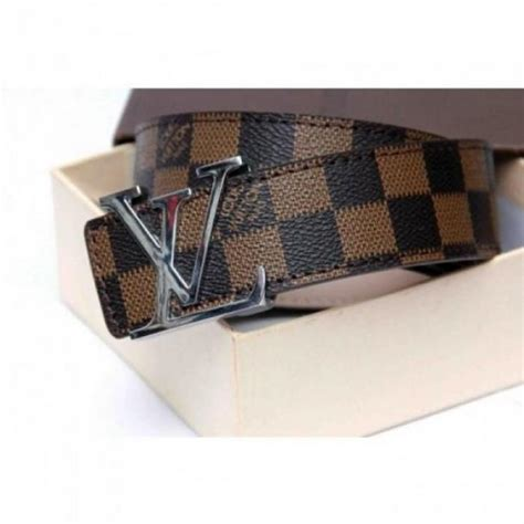 louis vuitton damier brown belt with silver buckle in