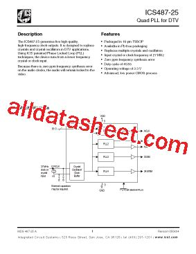 integrated circuit number lookup ics487 25 datasheet pdf integrated circuit systems
