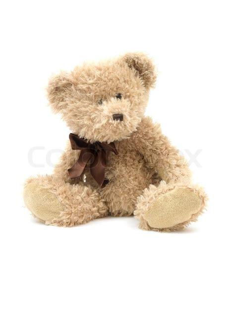 wallpaper teddy bear biru en bamse isoleret mod en hvid baggrund stock billede