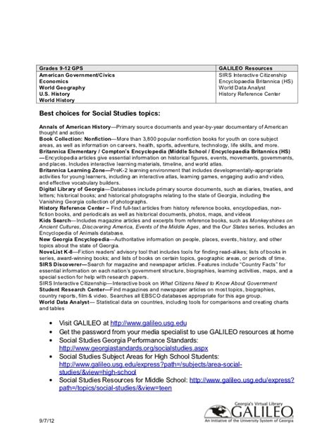 galileo biography for middle school galileo and common core standards social studies handout