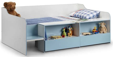 space saving low sleeper childs bed frame with shelves and