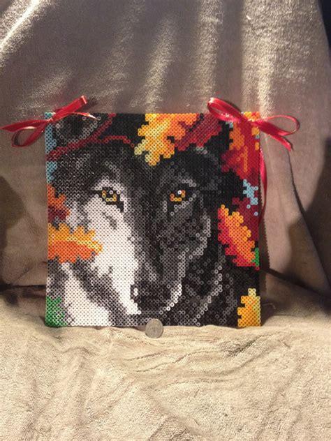 perler bead wolf stunning autumn wolf perler bead sprite wall hanging