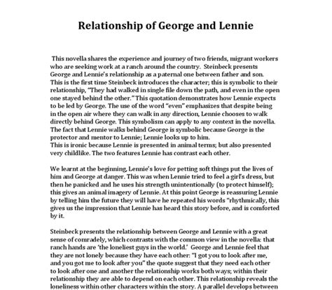 Relationship Essay by Relationship George And Lennie Essa