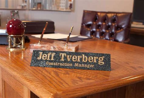 Custom Desk Plaque by Personalized Solid Granite Desk Name Plaque