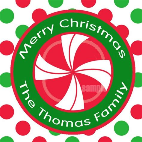 personalized christmas gift tags printable peppermint