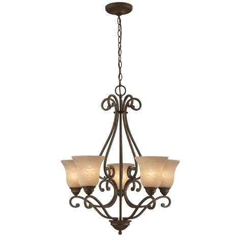 iron chandelier shop portfolio linkhorn 27 in 5 light iron vintage scavo glass shaded chandelier at lowes