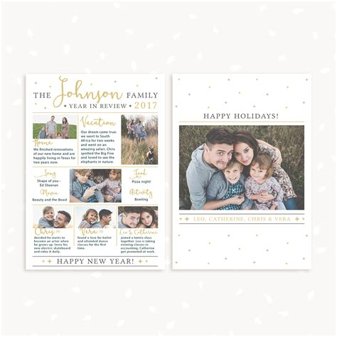 Year In Review Card Template by Year In Review Card Template Photography Strawberry Kit