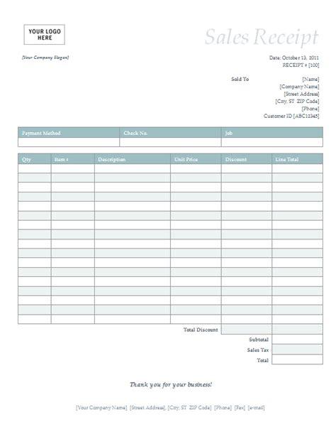 sales receipt template 4