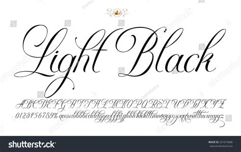 handmade vector calligraphy alphabet numbers stock