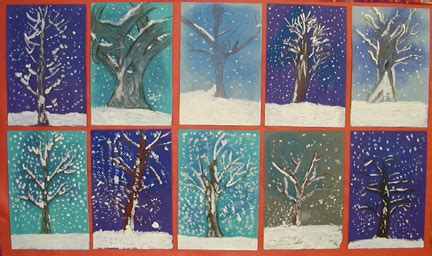 Winter Landscape Ks2 Winter Covered Trees Lesson Plan Painting