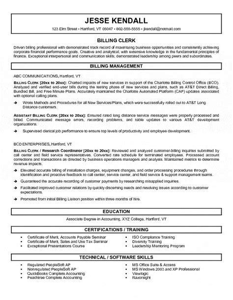 billing clerk resume