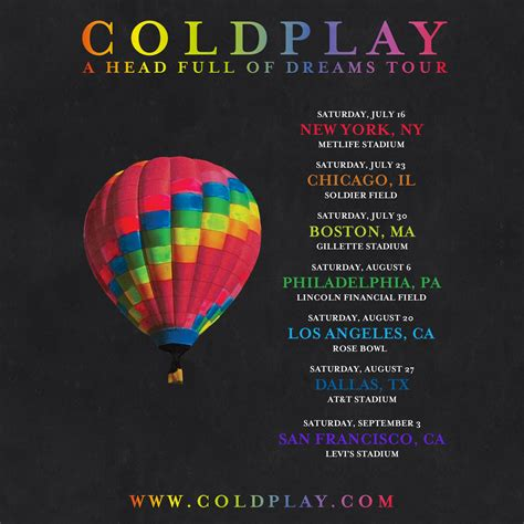 coldplay tour dates 2018 cold play announced a head full of dreams tour dates