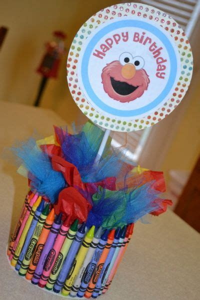 Elmo Centerpiece Made Using Crayons Tissue Paper And Elmo Centerpieces Decorations