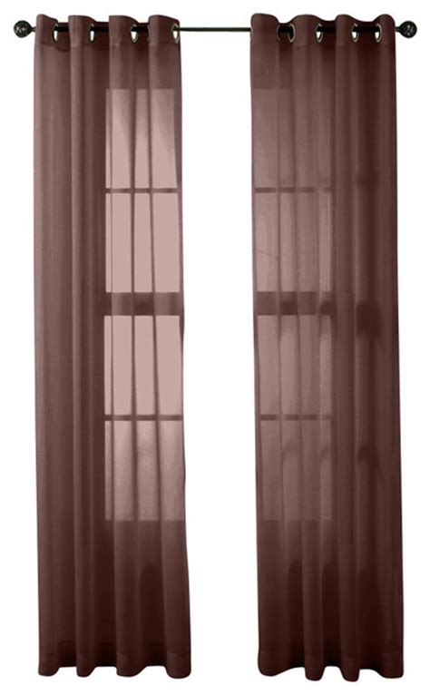 chocolate sheer curtains hlc me 2 piece sheer window curtain grommet panels