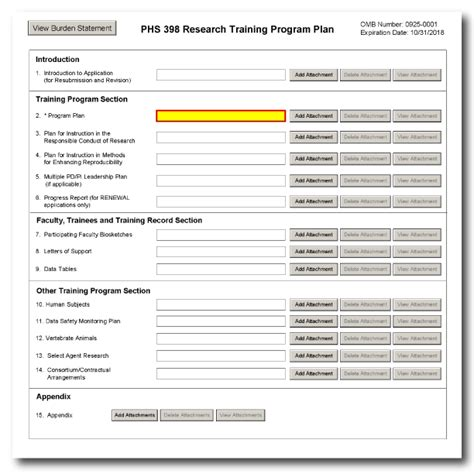 G 420 Phs 398 Research Training Program Plan Form Lifting Plan Template Uk
