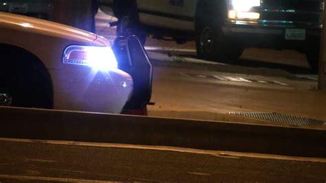 street glow strobe lights police car with flashing strobe light on street stock