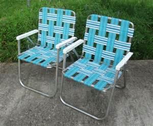 2 sunbeam webbed aluminum folding lawn chairs patio