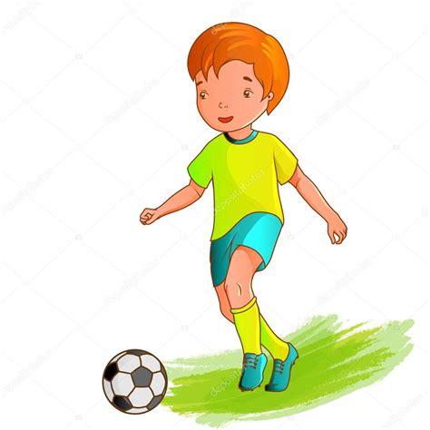 imagenes de niños jugando futbol animados ni 241 o dibujos animados jugando f 250 tbol vector de stock