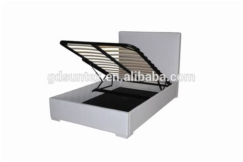 hydraulic lift storage bed modern white pu leather double bed hydraulic lift up