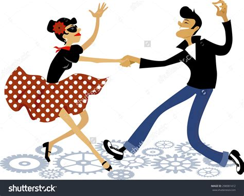 tutorial dance rock and roll cartoon couple dressed in rockabilly style fashion