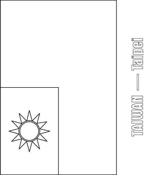 taiwan flag coloring page download free taiwan flag