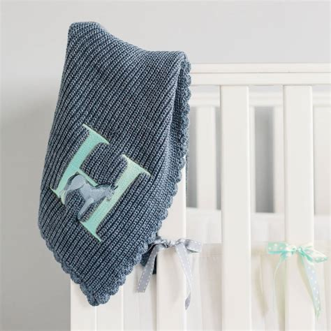 personalised knitted personalised knitted alphabet blanket blue by paint