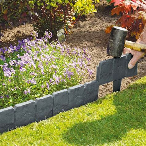 Plastic Garden Rocks 10 Pack Grey Cobbled Effect Plastic Garden Lawn Edging Plant Border Lawn Plants And