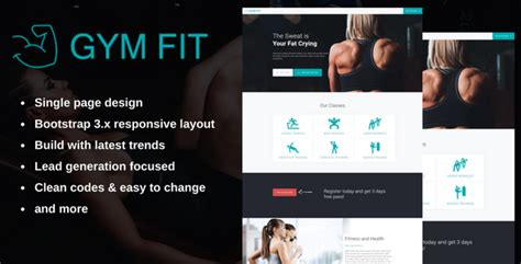 Gym Fit Fitness Landing Page By Basirmukhtar Themeforest Fitness Landing Page Templates