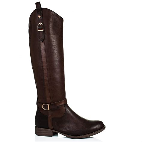 knee high brown boots buy ridealong flat buckle zip knee high boots brown