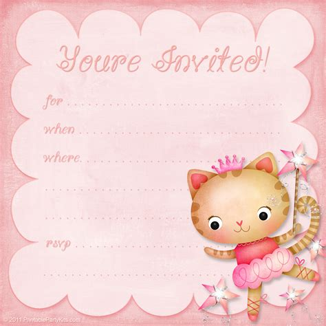 girls birthday party invitation princess ballerina