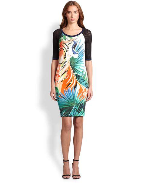 Green Tiger Dress 1 roberto cavalli tiger print dress in black lyst