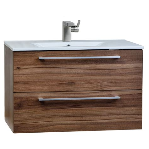 buy 32 inch wall mount modern bathroom vanity set walnut