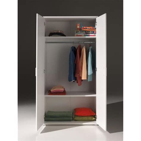 milan armoire 2 portes blanche achat vente armoire de