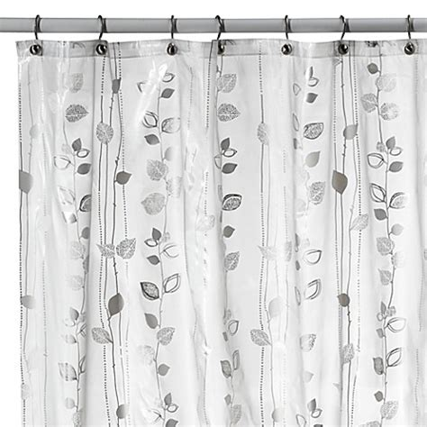 ivy shower curtain buy ivy silver vinyl shower curtain from bed bath beyond