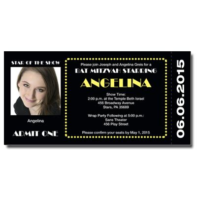 Broadway Ticket Save The Date Card With Magnet Bar Mitzvah Bat Mitzvah Save The Date Cards Broadway Show Ticket Template