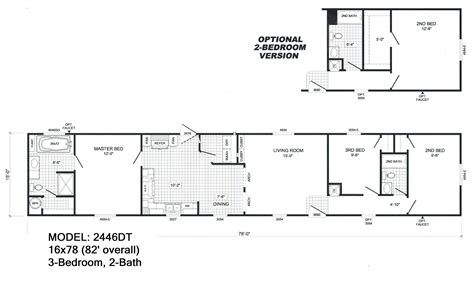 3 bedroom single wide mobile home floor plans
