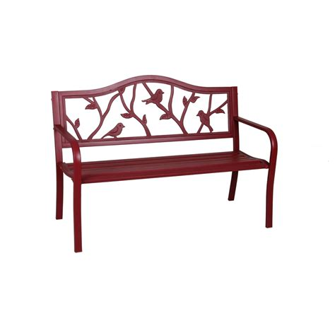 red outdoor bench shop garden treasures 23 5 in w x 50 4 in l red steel