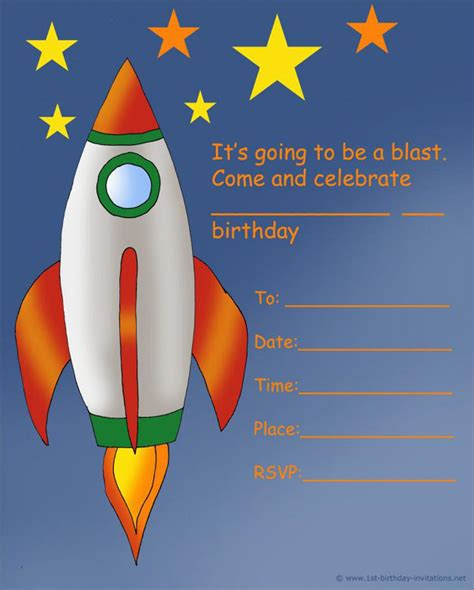 rocket card template 18 birthday invitations for free sle templates