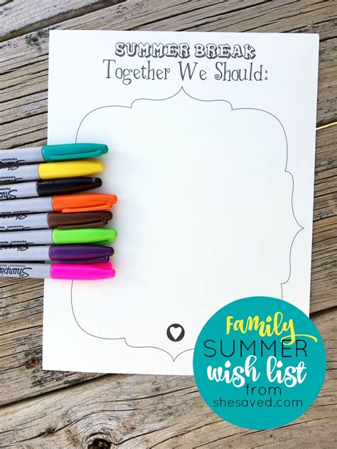 family fun  family summer  list printable shesaved