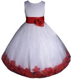 Elegant christmas dress for your little girl white red flower