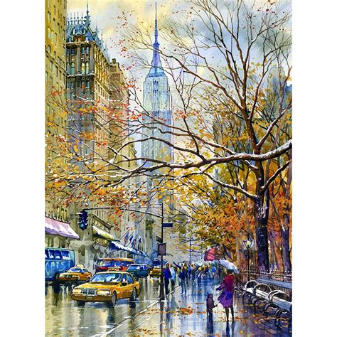 building painting empire state building new york art