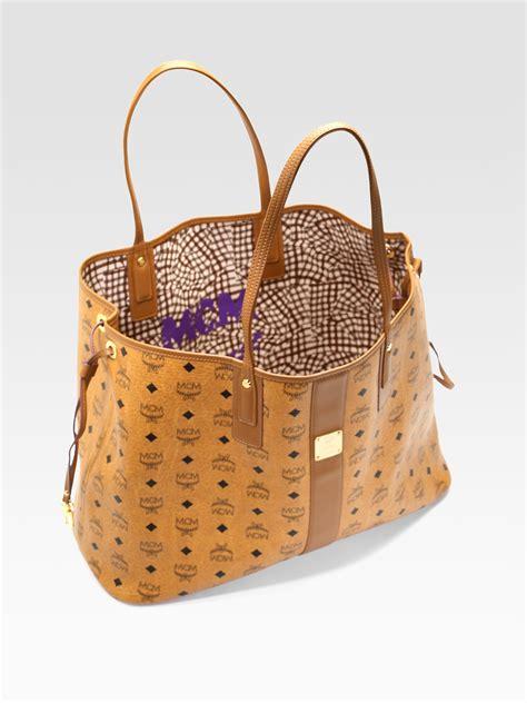 mcm liz medium reversible coated canvas shopper in brown